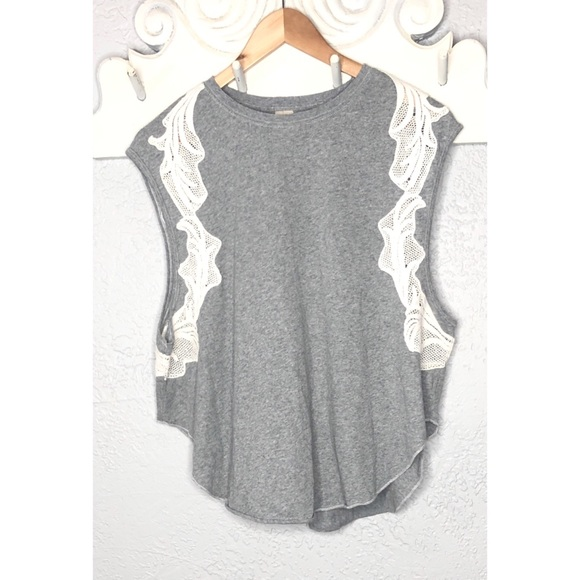f1d7bbfedaa39 Free people we are free gray tank top with lace